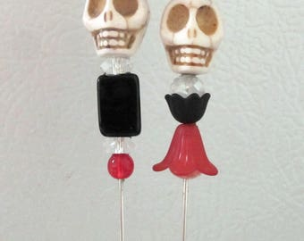 Sugar Skull Cake Topper Bride Groom Day of the Dead Wedding Caketopper Black White Red