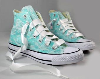 Light Aqua Lace High Top Converses --Blue Bridal Converses --Blue Wedding Tennis shoes  -Blue Wedding Converse High Top-- Custom Converses
