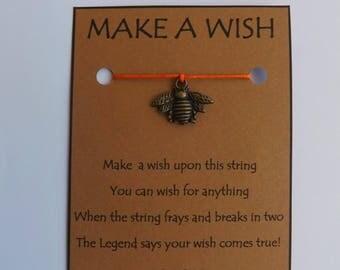 Bee Antique Bronzetone Charm WISH STRING Bracelet String Friendship Bracelet  Amulet Lucky Stocking Stuffer