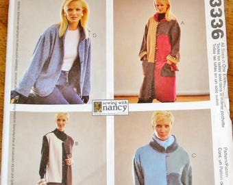 Nancy Zieman Sewing Pattern McCall's 3336, Womens Misses Jacket Size 8 10 12 14 16 18 20 22 Bust 31 32 34 36 38 40 42 44 Uncut Factory Folds