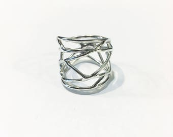 Geometric Ring - Recycled Sterling Silver