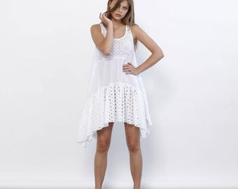 Big Summer Sale Summer Sale White Eyelet Dress, Lilo Dress, White Summer dress.