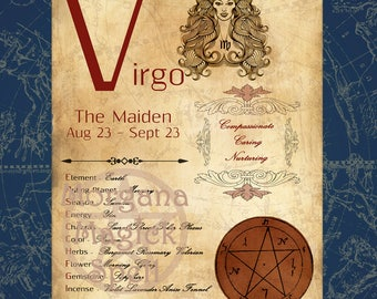 VIRGO ZODIAC, Digital Download, Astrology, Print, Constellation, Horoscope,   Book of Shadows Page, Wicca, BOS, Grimoire,
