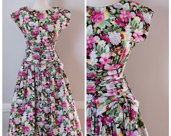 80s Dress / 80s Vintage Dress / Vintage Dress / Cotton Dress / Floral Dress / Party Dress / Drop Waist Dress / Midi / Open Back / Small