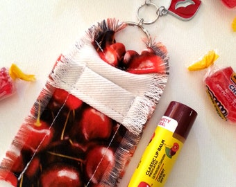 Cherry Lip Balm Holder Purse Clip, Chapstick Holder Keychain for Women, Red Lips Charm,  Girlie Accessory, Clip On Purse Bling