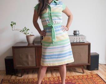 Vintage Women's 1960s Blue, Yellow, Green Striped Kay Windsor Midi Dress size Medium/Large