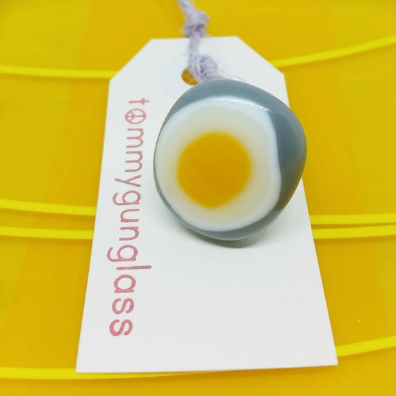 Yellow and Gray Glass Adjustable Ring