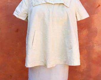 Vintage 1950s 1960s Ivory Beaded Maternity Top. Party Cocktail Maternity Tunic Shirt blouse Top
