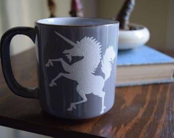 Vintage Ceramic Unicorn Coffee Mug - Woodland, Magickal, Rainbows, 80s, Take Me Back