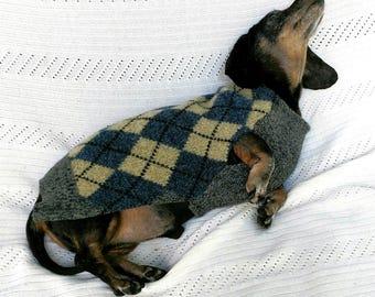 Argyle Plaid Dachshund sweater extra warm for northern winter wear