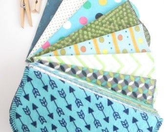 Reusable Cloth Wipes Pack of 16--Modern Mix--2 Ply Flannel--Regular--Ready To Ship