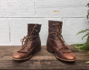 9 M | Women's Brown Larry Mahan Lace Up Ropers