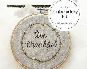 embroidery kit // Live Thankful - hand embroidery kit
