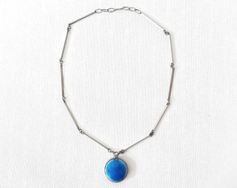 Vintage Stainless Steel Necklace with Cobalt Blue Round Enamel Pendant