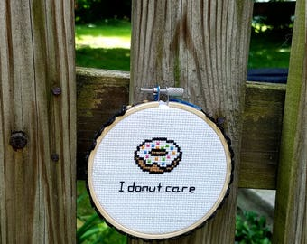 """Homemade """"I Donut Care"""" Cross-Stitch Wall Decor Colorful Punny Sprinkle Doughnut Cross Stitch Wall Quote"""