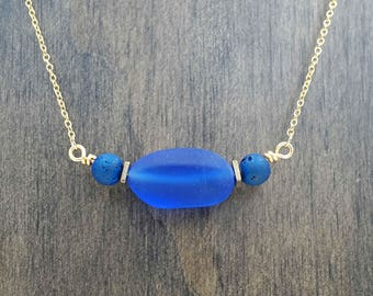 Sapphire Blue Beach Glass Druzy Aromatherapy Necklace Essential Oil Diffuser Necklace