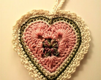 Large Heart Ornament - Heart Door Hanger - Prayer Heart - Hanging Heart Decoration - Gift of Love - Rose, Sage and Cream