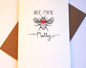 Bee mine personalised valentines card