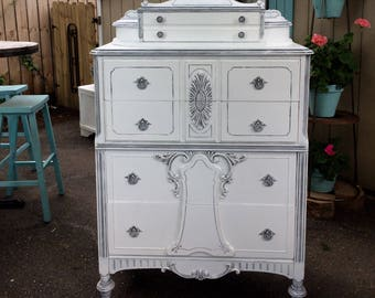 White Painted Dresser - Shabby Chic Vintage Furniture