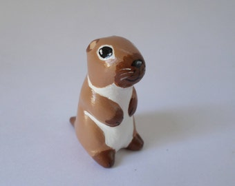 Miniature groundhog, miniature animal, groundhog figurine, animal sculpture, groundhog totem #165