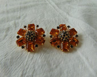 joan rivers topaz green crystal earrings clip ons signed vintage jewelry gold plated