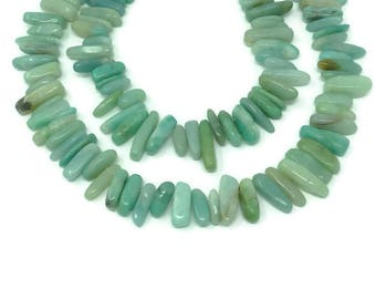 Amazonite - Top Drilled Stick or Dagger - Whole or Half Strand - about 24mm to 15mm in length - Aqua Ocean Blue Green - Spike