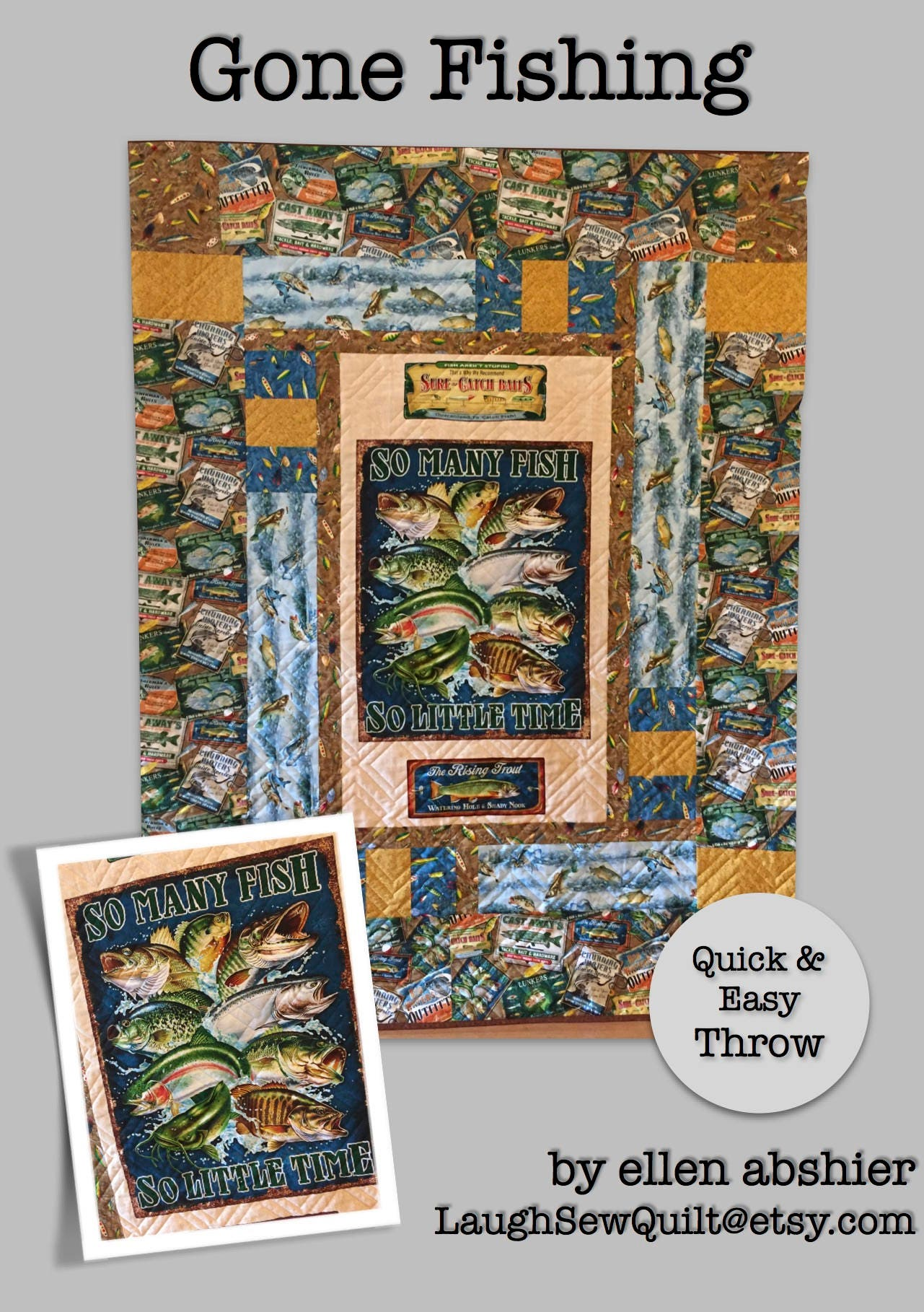 Gone Fishing Throw Size Quilt Pattern By Ellen Abshier