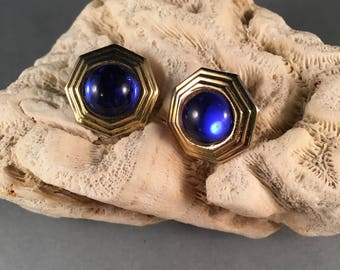 Vintage Gold and Blue Cats Eye Clip on Earrings, Gold Eight Sided Hexagon Shape Blue Cats Eye Earrings .75 Inches Wide .75 Inches Long