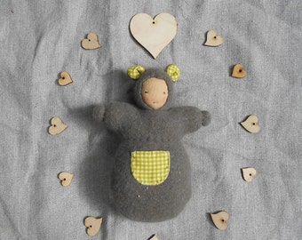Angora and wool mix and cotton, waldorf doll, grey bear snuggle pocket doll, all natural materials