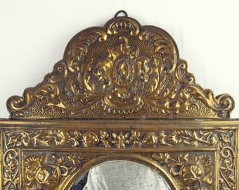 vintage mirror,brass mirror, wall mirror,antique mirror,french mirror, art deco mirror,arched mirror,wood mirror, circa 1930