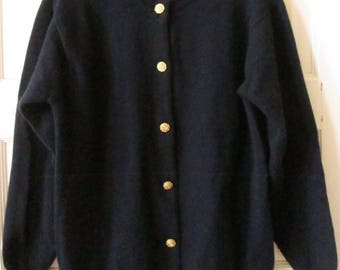 Navy Blue Scotch House Lambswool Cardigan Sweater, Made in Scotland, 38, M