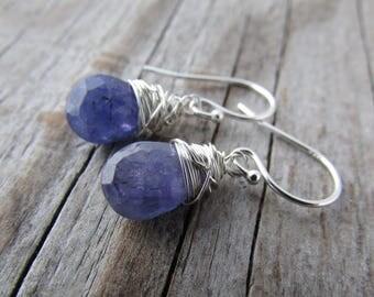 Tanzanite Earrings, wire wrapped, silver gemstone dangle earrings