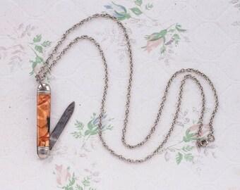 Orange Penknife Necklace - Always Ready - Pocket Knife on Chain
