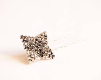 Silver Swarovski crystal flower bridal hair pin