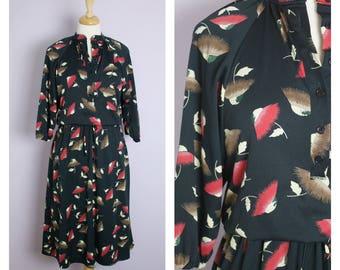 Vintage 1970's Black Floral Mandarin Collar Midi Dress M/L