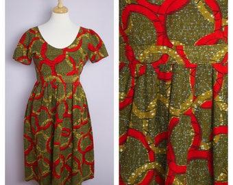 Vintage Handmade Scoop Neck Short Sleeve Red + Gold Ring African Block Print Dress M/L