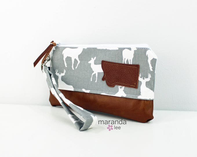 Flat Clutch - Deer Gray with Montana Patch READY to SHIp