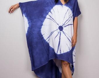 Blue and White Tie Dye Dress, Summer Dress, Hand Dyed Shibori Dress, Blue dress, festival dress, boho dress : Shibori Collection