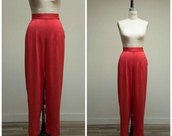1940s Vintage Pants • My Match • Red High Rise Gabardine 40s Slacks Size Medium