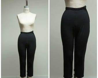 1950s Vintage Pants • Pegged • High Rise Black Wool 50s Cigarette Pants Size XSmall
