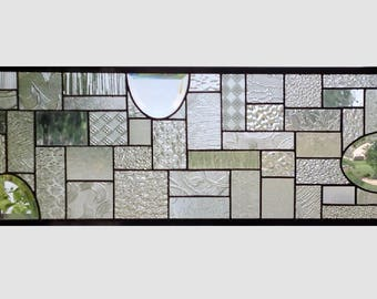 Clear glass transom stained glass window panel geometric abstract stained glass panel window panel large 0267 28 3/4 x 9 7/8