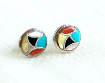Vintage Southwestern Earrings Inlaid Turquoise, Mother of Pearl, Red Coral, Onyx Posts Round Boho Studs