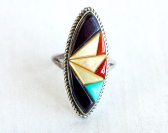 Southwestern Marquise Ring Vintage Zuni Inlaid Stone Size 6 Geometric Turquoise, Onyx, Red Coral, Mother of Pearl Native American Jewelry
