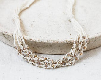 Multi strand crochet necklace Off white and champagne beads Natural beaded jewelry Gift under 20 for her Boho chic Bohemian style