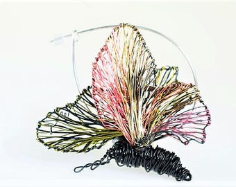 Butterfly brooch Black pin Black pink Unusual Wire jewelry Sculptural jewelry Modern boho Jacket pin Christmas gift for women Halloween pin