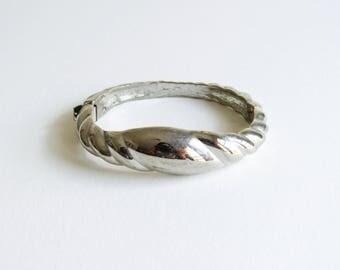 Vintage Diane Von Furstenberg DVF silver cuff clamper bracelet