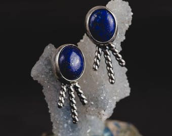 Lapis Lazuli Stud Earrings-Sterling Silver Lapis Earrings-Small Natural Lapis Lazuli Studs-Native American Inspired- Boho Earrings