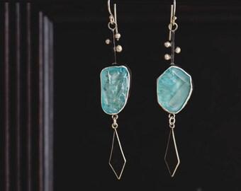 Sterling Silver Topaz Dangle Earrings- Lab Created Blue Topaz Long Boho Earrings- Unique Statement Earrings-Grecian Chic Jewellery