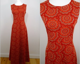 Retro VINTAGE 1960s Orange Pop Flower Gold Metallic Shimmer Evening Party Maxi Dress UK 10 F 38 / Fab Orange Metallic Metal Zip/ Psychedelic