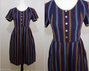 Bohemian Vintage 1970s Blue Gold Stripe Cotton Folk Dress UK 16 F 44 Dirndl/ Country / Swing Dress / 40s Style